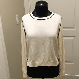 Banana Republic cropped sweater with black piping